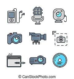 色, 媒体, multi, セット, アイコン