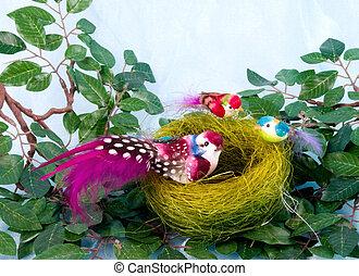 色, 巣, 鳥