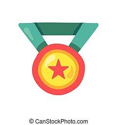 色, 平ら, メダル, リボン, イラスト