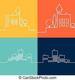 色, 平ら, 輪郭, 風景, 都市