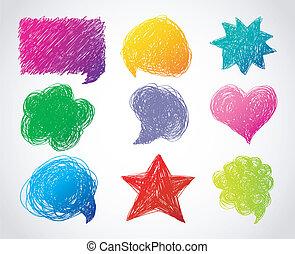 色, 引かれる, 泡, スピーチ, 手