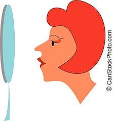色, 彼女自身, イラスト, 賞賛, ベクトル, 鏡, 前部, 図画, 女性, ∥あるいは∥