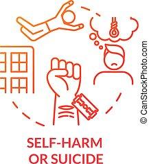 色, 憂うつ, アウトライン, 狂気, 隔離された, self-harm, 自殺, ベクトル, psychical, 線, 薄くなりなさい, 切断, 結果, 問題, 静脈, 考え, illustration., 掛かること, icon., rgb, drawing., 概念