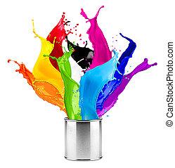 色, 抽象的, はね返し, 缶