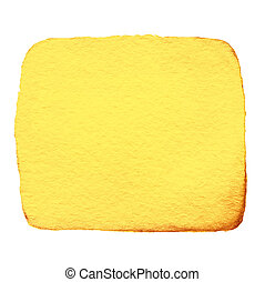色, 抽象的, スポット, 隔離された, 黄色, 手, 水彩画, バックグラウンド。, インク, 引かれる, 白, はねかけること