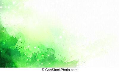 色, 抽象的, バックグラウンド。, 緑, はねる, 白