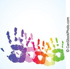 色, 抽象的, 手, ベクトル, 背景, 印刷