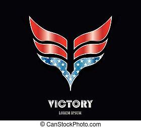 色, 抽象的, 旗, アメリカ人, 勝利, 翼