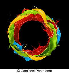色, 抽象的, 黒, はねる, 背景, 円