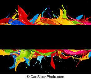 色, 抽象的, 黒, ストライプ, はねる