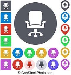 色, 旋回装置, セット, 椅子, アイコン