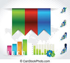 色, 旗, セット, イラスト, infographic
