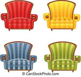 色, 明るい, ベクトル, 肘掛け椅子