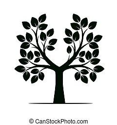 色, 木。, 緑, illustration., ベクトル