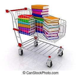 色, 本, 買い物カート