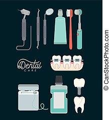 色, 歯医者の, セット, 背景, 心配