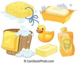 色, 浴室, セット, 黄色