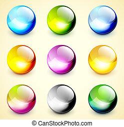 色, 球, セット, グロッシー