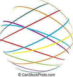 色, 球, 抽象的, ライン