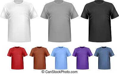 色, 男性, 黒, t-shirts., template., ベクトル, デザイン, 白