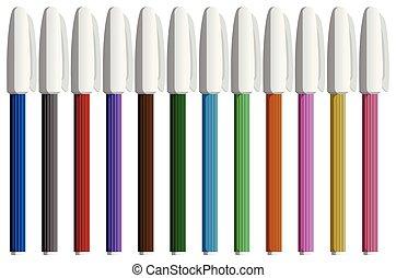 色, 白, セット, ペン, 背景
