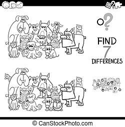 色, 相違, 犬, ゲーム, ネコ, 本