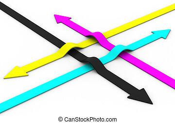 色, 矢, 隔離された, バックグラウンド。, cmyk., 白, イメージ, 3d