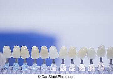 色, 移植, ガイド, 歯, 歯医者の, 色, 王冠