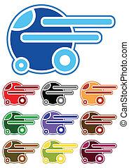 色, 自動車, セット, 漫画
