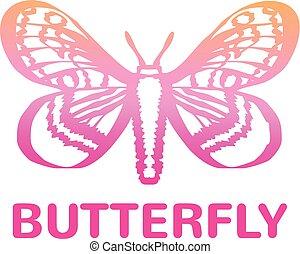 色, 蝶, アイコン, ベクトル, ピンク