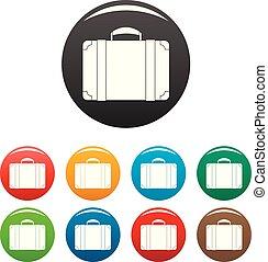 色, 袋, セット, 手荷物, アイコン