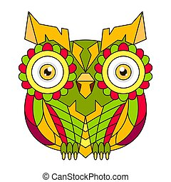 色, 装飾用, mandala., 花, フクロウ