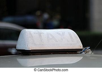 色, 通り。, 印, ライト, 白, ドラブ, タクシー, 屋根, ∥あるいは∥, 自動車, タクシー