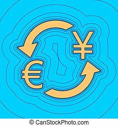色, -, 通貨, 日本, 輪郭, 青, yen., バックグラウンド。, 空フィールド, 黒, 輪郭, vector., アイコン, 地図, 交換, 印。, equidistant, sea., 波, ユーロ, のように, 島, 海洋, 砂, ∥あるいは∥
