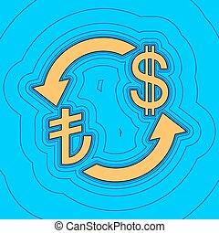 色, -, 通貨, 輪郭, トルコ, フィールド, 空, バックグラウンド。, 黒, 輪郭, vector., dollar., リラ, 地図, 交換, 印。, 青, equidistant, sea., 波, アイコン, のように, 島, 私達, 海洋, 砂, ∥あるいは∥