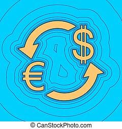 色, -, 通貨, 輪郭, 青, バックグラウンド。, 空フィールド, 黒, 輪郭, vector., dollar., アイコン, 地図, 交換, 印。, equidistant, sea., 波, ユーロ, のように, 島, 私達, 海洋, 砂, ∥あるいは∥