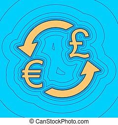 色, -, 通貨, 輪郭, 青, バックグラウンド。, 空フィールド, 黒, 輪郭, vector., pound., ユーロ, 地図, 交換, 印。, equidistant, sea., 波, アイコン, のように, 島, 海洋, 砂, イギリス, ∥あるいは∥