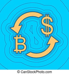 色, -, 通貨, 輪郭, 青, バックグラウンド。, 空, bitcoin, フィールド, 黒, 輪郭, vector., dollar., 地図, 交換, 印。, equidistant, sea., 波, アイコン, のように, 島, 私達, 海洋, 砂, ∥あるいは∥
