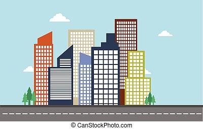 色, 都市, ベクトル, 風景