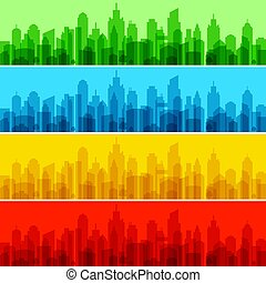 色, 都市, ベクトル, illustration., 景色。