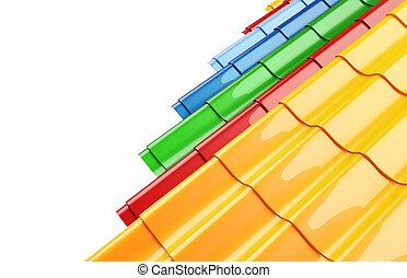 色, 金属, 屋根, 背景, タイル, 白