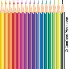 色, 鉛筆, ベクトル, イラスト
