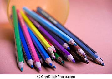 色, 鉛筆, 準備ができた, グループ, 図画