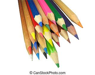 色, 鉛筆, 白, 隔離された, 背景