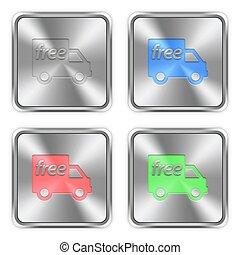 色, 鋼鉄, 無料で, 出荷, ボタン