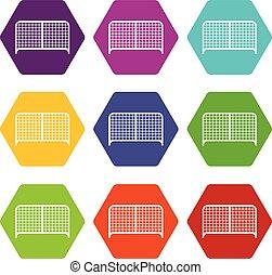 色, 門, hexahedron, セット, アイコン