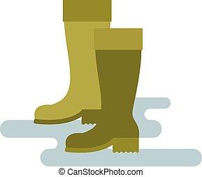 色, 雨, イラスト, 隔離された, ベクトル, 緑, ブーツ, バックグラウンド。, ゴム, 白