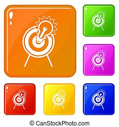 色, 電球, セット, ターゲット, アイコン