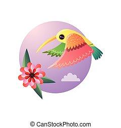 色, 飛行, 羽, ハチドリ, 花