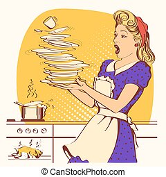 色, 鶏, oven., イラスト, ベクトル, 不器用である, overlooked, 主婦, 焼き肉